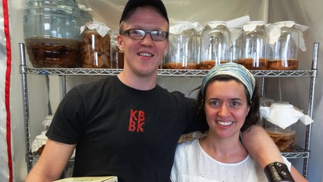 Eric and Jessica Childs from Brooklyn Kombucha