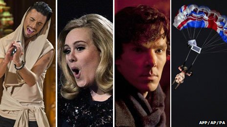 Rylan Clark, Adele, Benedict Cumberbatch and a parachuting Queen