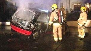 Dan Murphy's burnt car