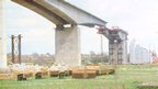 Orwell Bridge span is moved into place