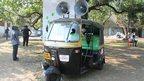 An auto-rickshaw by Italian artist Giuseppe Stampone