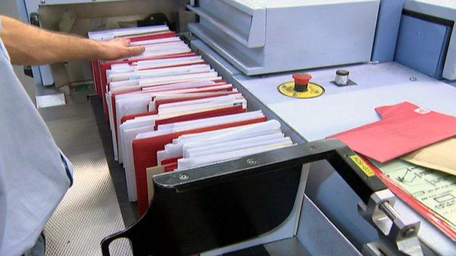 Letters sorted at a Royal Mail sorting office