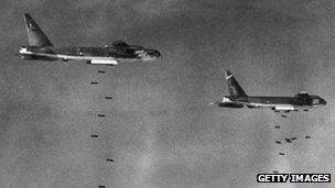 B-52s releasing bombs