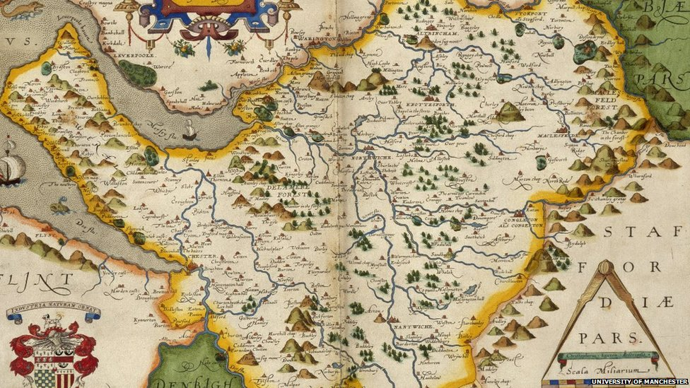 also included is a map of cheshire created in 1579 from an atlas containing 34 maps of england and wales each leaf is mounted and hinged and illuminated in