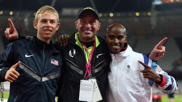 Galen Rupp (l), Alberto Salazar (c) and Mo Farah