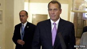 House Speaker John Boehner returns from talks at the White House 17 December 2012