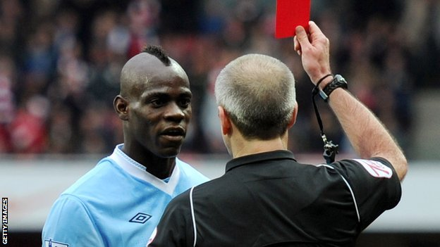Mario Balotelli shown red against Arsenal in April