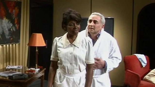 Actors play the roles of Dominique Strauss-Kahn and Nafissatou Diallo