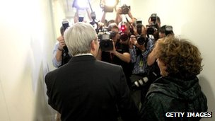 Kevin Rudd answers questions after his leadership challenge loss on 27 February 2012