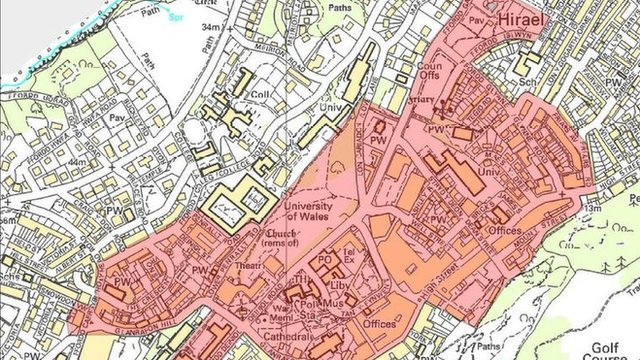 Map of Bangor city centre dispersal area
