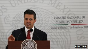 Mexican president Enrique Pena Nieto on 17 December 2012