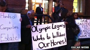 Residents protest against plans to demolish the Carpenters Estate