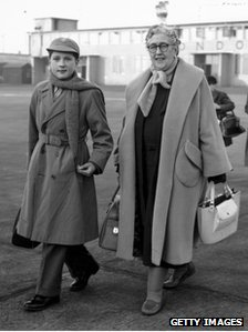 Mathew Prichard pictured with his grandmother Agatha Christie at London airport in 1956