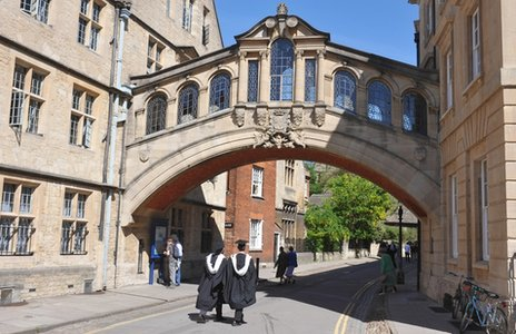 Oxford University students wearing their graduation gowns