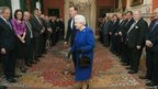 The Queen is introduced by Prime Minister David Cameron to members of the cabinet