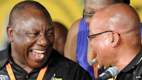 Cyril Ramaphosa (l) and Jacob Zuma at ANC conference in Mangaung on 18 December 2012