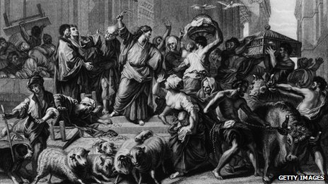 Circa 27 AD, Jesus Christ expels the traders and money lenders from the Temple. Original Artwork: An engraving by Mote after Jourenat. (Photo by Hulton Archive/Getty Images)