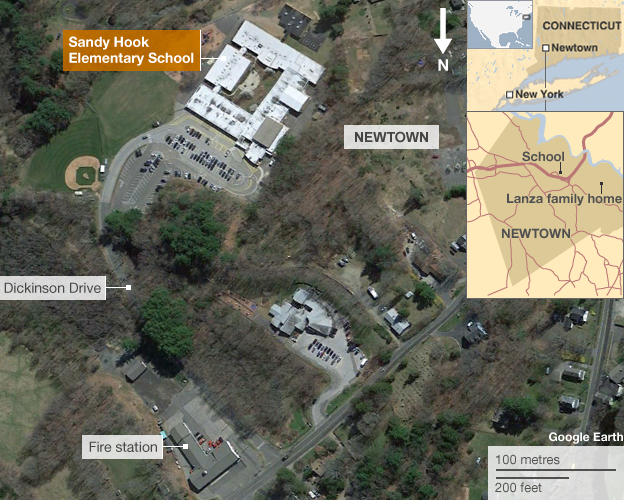 Map showing Sandy Hook school and the location of the Lanza family home