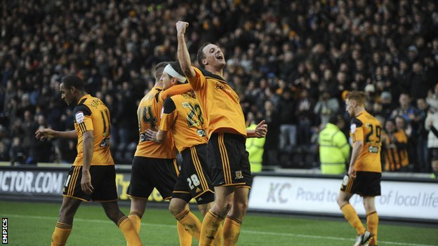 Hull City players celebrate goal at the KC Stadium