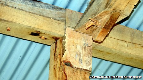 Picture showing where a wooden beam was cut out