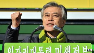 Presidential candidate Moon Jae-in speaks in Seoul on 18 December 2012