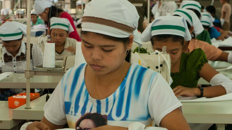Worker in Karen State garment factory