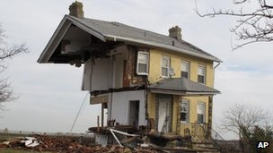 A house that was torn in half by Superstorm Sandy