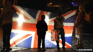 Protesters on Tuesday night in Belfast