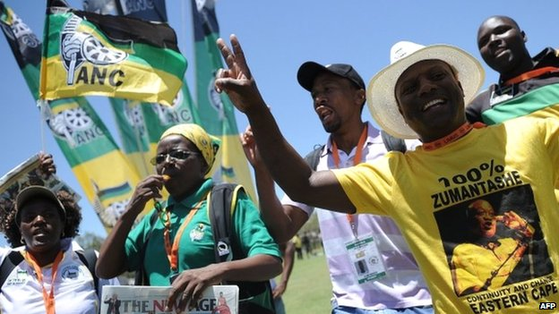 African National Congress (ANC) delegates sing and dance to support South African President Jacob Zuma during the 53rd National Conference of the ANC on December 18, 2012 in Mangaung