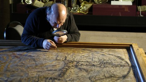 Mappa Mundi is examined by Dr Christopher Clarkson