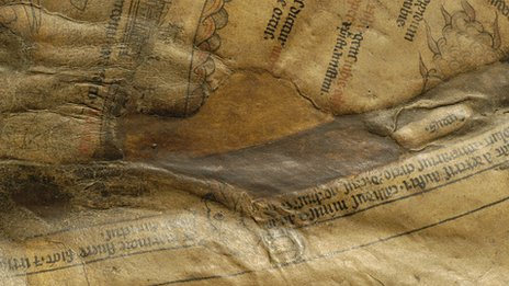 Close up picture of a patched area on the Mappa Mundi