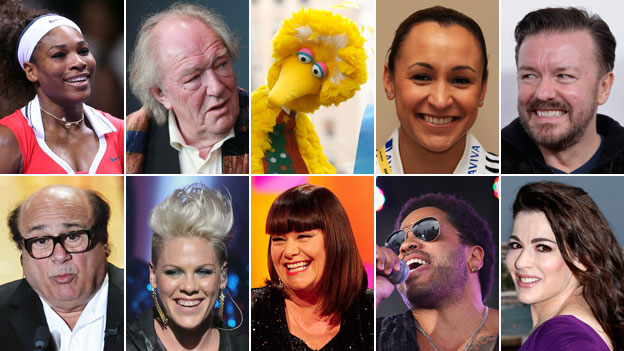 Clockwise from top left: Serena Williams, Michael Gambon, Big Bird, Jessica Ennis, Ricky Gervais, Nigella Lawson, Lenny Kravitz, Dawn French, Pink, Danny De Vito