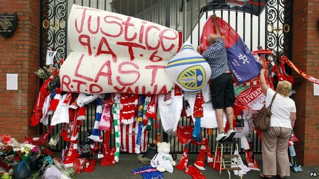Tributes to the Hillsborough victims at Anfield