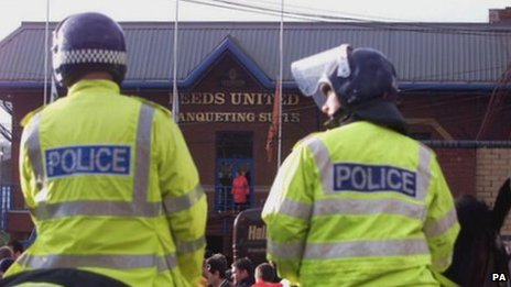 Police officers at Elland Road