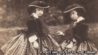 Princesses Helena and Alice, daughters of Queen Victoria - circa 1856