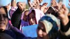 Pakistani polio vaccination workers shout slogans against the killing of their colleagues