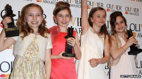Matilda stars Sophia Kiely, Eleanor Worthington-Cox, Kerry Ingram and Cleo Demetriou