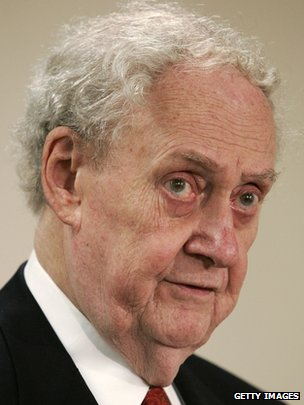 Robert Bork listens during a panel discussion in Washington, 1 September 2005