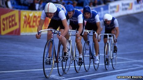 Chris Boardman leads a four man sprint team in Leicester