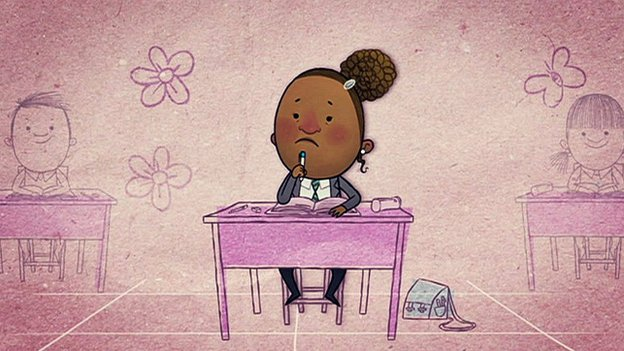 A cartoon drawing of a girl sat at her school desk, confused.