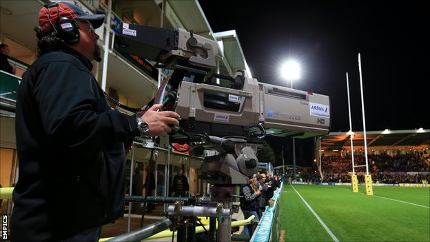 TV camera at rugby union game