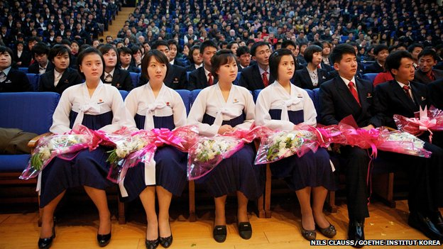 The audience in a North Korean concert hall