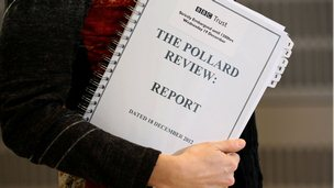 A Journalist holds a copy of The Pollard Report at New Broadcasting House,