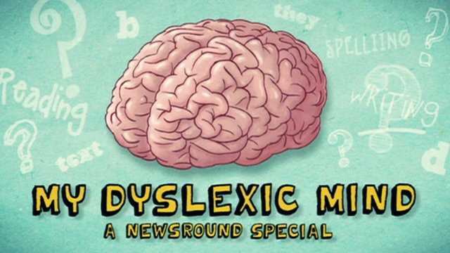 A title slide for the documentary My Dyslexic Mind - A Newsround Special.  The slide shows a cartoon drawing of the brain.