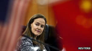 Michele Flournoy at the Bayi Building in Beijing in this 7 December 2011