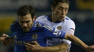 Chelsea's Juan Mata and Leeds' Michael Brown