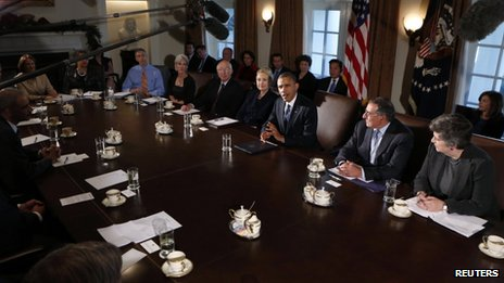 President Barack Obama speaks during a meeting with members of his cabinet at the White House in Washington 28 November 2012
