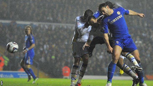 Branislav Ivanovic scores for Chelsea at Leeds