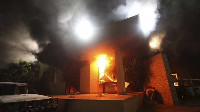 Building at US Consulate in Benghazi burns on 11 September 2012