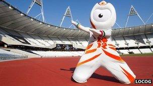 Wenlock at the Olympic Stadium